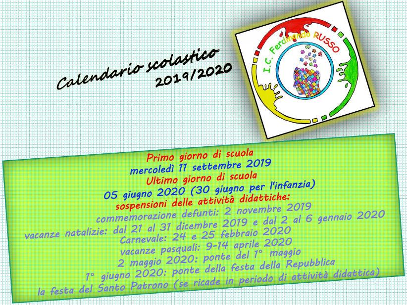 Csa Napoli Calendario Scolastico Regionale.Calendario Scolastico 2019 2020